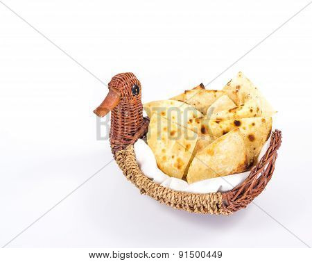 isolated bread-plate of flat bread
