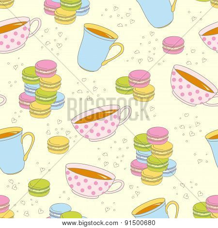 Colorful Macaroon Cookies And Teacupseamless Pattern.