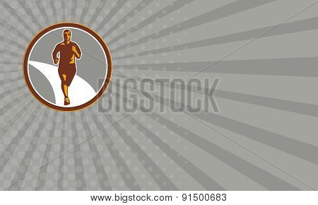 Business Card Marathon Runner Front Circle Retro