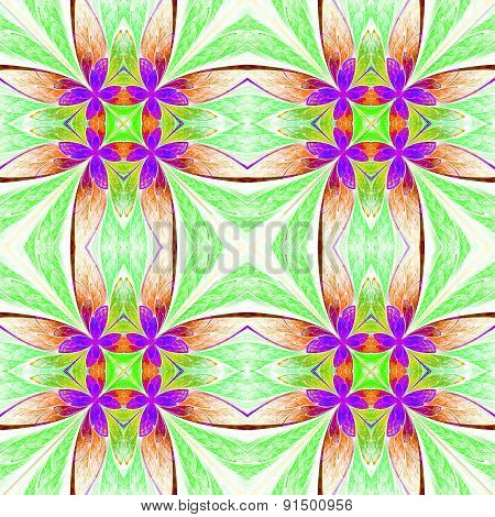 Symmetrical Flower Pattern In Stained-glass Window Style On Light. Green, Purple And  Brown Palette.