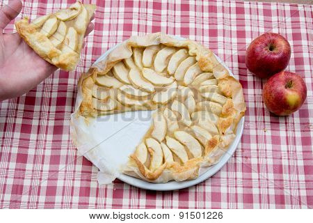 Delicious Home-made Apple Pie And Apples.