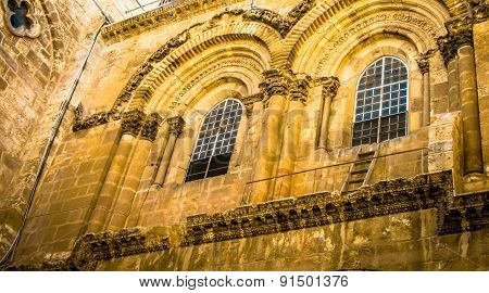 Detail of Church of the Holy Sepulchre in Old City of Jerusalem