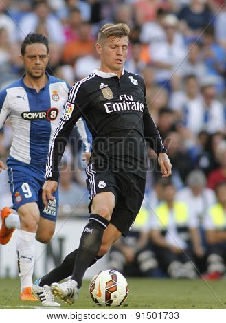 BARCELONA - MAY, 17: Toni Kroos of Real Madrid during a Spanish League match against RCD Espanyol at the Power8 stadium on Maig 17 2015 in Barcelona Spain