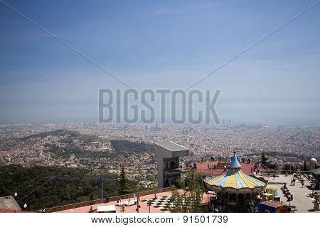 BARCELONA, SPAIN - MAY 2, 2015:  Ferrish-wheel in the Amusement Park on Mount Tibidabo in Barcelona, Catalonia, Spain