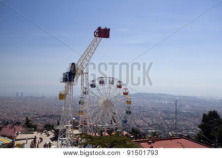 BARCELONA, SPAIN - MAY 2, 2015: Amusement Park on Mount Tibidabo in Barcelona, Catalonia, Spain