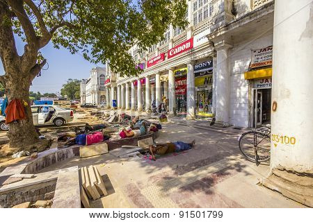 Construction Workers Relax At The Connaught Place