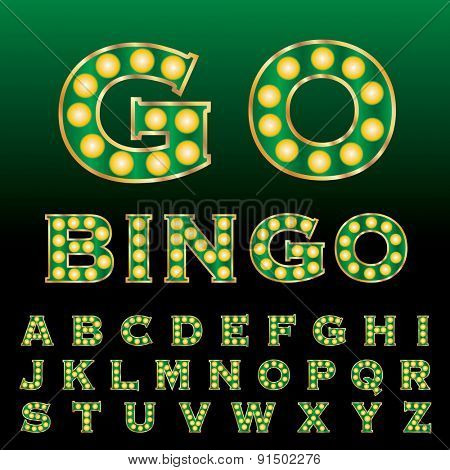 vector green golden entertainment and casino letters with bulb lamps