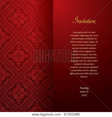 vector red baroque invitation card
