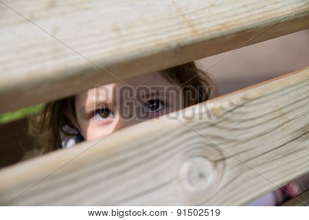 Baby Looks Through Wood Aces