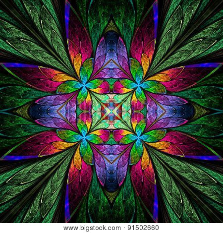 Symmetrical Multicolored Flower Pattern In Stained-glass Window Style On Green.  Computer Generated
