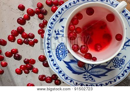Cranberry Tea And Berries On A Tray