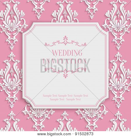 Vector Pink Vintage Invitation Card with 3d Floral Damask Pattern