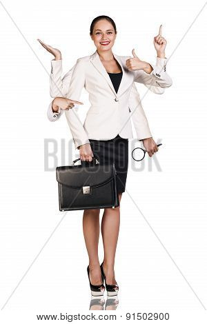 Beautiful business woman with six arms