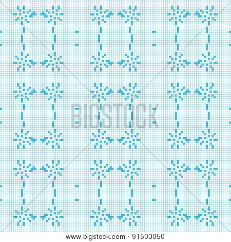 Filet Crochet Lace Design. Seamless Background In Blue