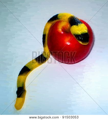 Jelly Serpent  Crawling Over An Apple - With Copy Space