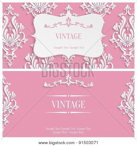 Vector Pink 3d Vintage Invitation Template With Floral Damask