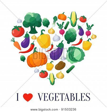 Vector Vegetables Flat Style Icons Set in Heart Shape
