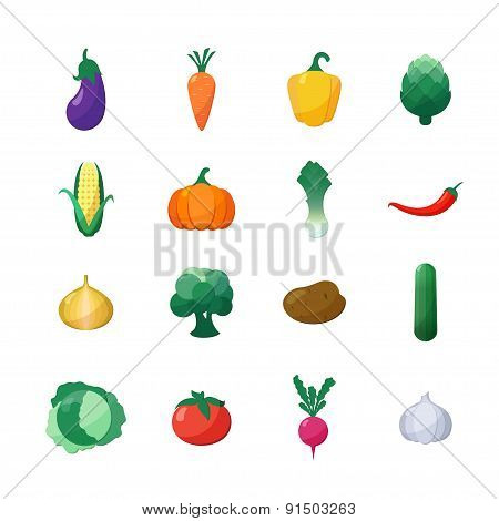 Vector Icons Vegetables Flat Style Set Isolated over White