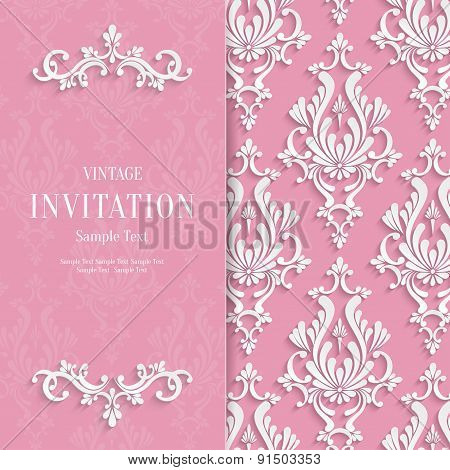 Vector Pink Floral 3d Wedding Invitation Background Template