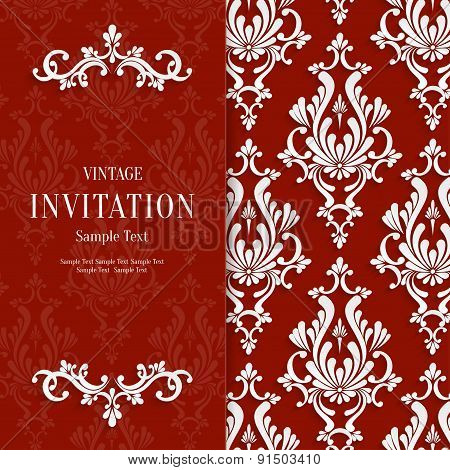 Vector Red Floral 3d Christmas and Invitation Background Template