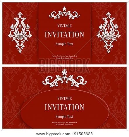 Vector Red Floral 3d Background. Template for Christmas and Invitation Cards