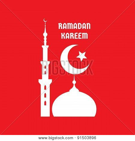 Ramadan Kareem - vector concept illustration sign on red background.
