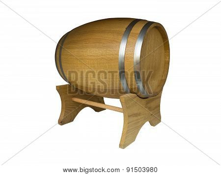 Wooden Barrel With Iron Rings. Isolated On White