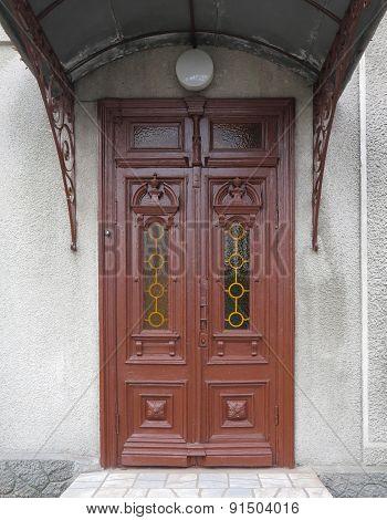Old Brown Vintage Wooden Door With Decoration