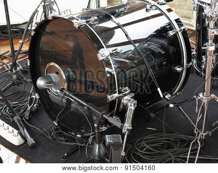 Black Drum Kit, Cables And Microphones Closeup