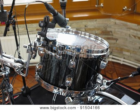 Black Drum Kit, Cables And Microphones Closeup