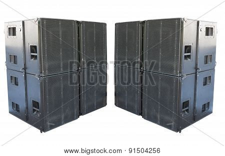 Giant Old Stage Industrial Speakers Isolated Over White