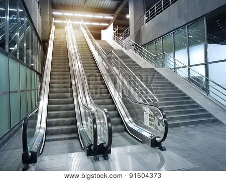 Subway stations escalator