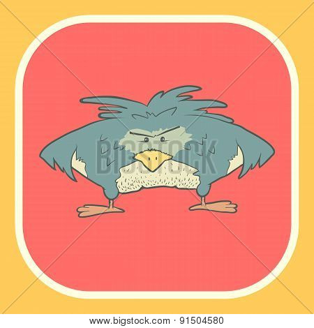 Illustration hand drawn vector retro cartoon bird on flat square background.
