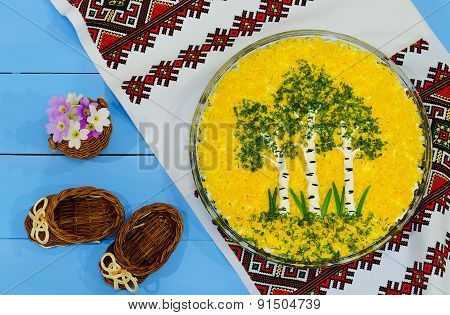 Festive Salad With Composition In The Form Of A Birch