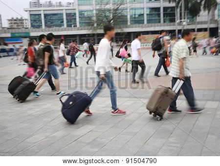 Guangzhou railway station passenger in China