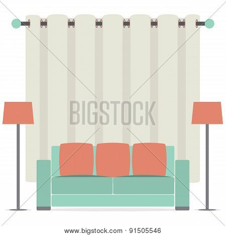 Empty Sofa In Front Of Brown Curtain.
