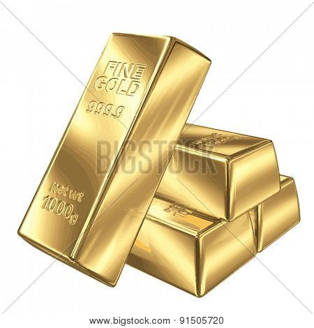 Set of gold bars vector illustration EPS 8.