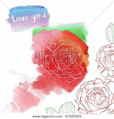 Watercolor rose hand drawing