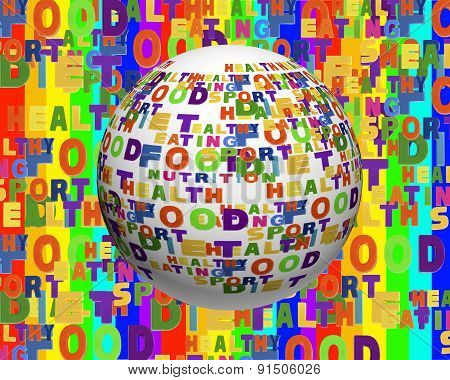 Conceptual Image Of Tag Cloud Containing Words Related To Food, Sports, Nutrition