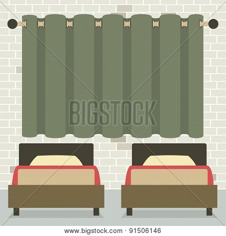 Twin Beds In Front Of Curtain And Brick Wall.