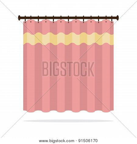 Pink Curtain On White Background.