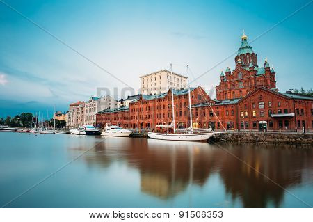 Embankment In Helsinki At Summer Evening, Finland. Town Quay, Fa
