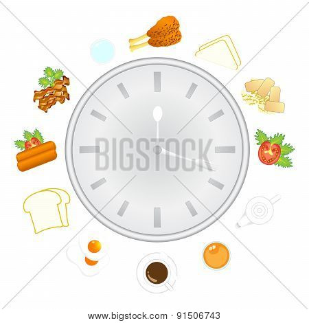 Clock With Food And Kitchen Utensils, Meal Time, Vector, Illustration