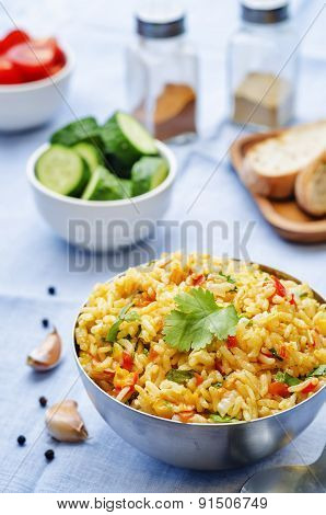 Saffron Rice With Vegetables And Cilantro