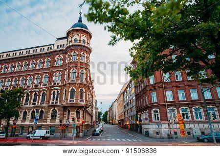 Evening view of Kirkkokatu street in Helsinki, Finland