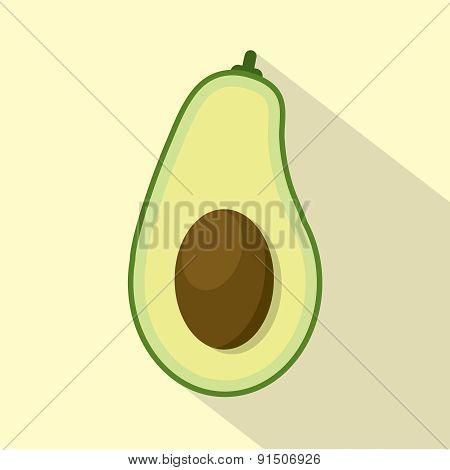 Flat Design Avocado Icon.