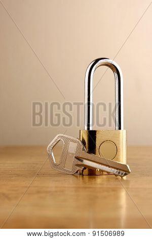 Padlock and a key