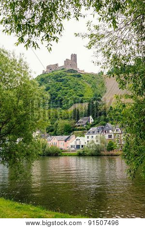 Castle Ruin Over Bernkastel Village And Moselle River