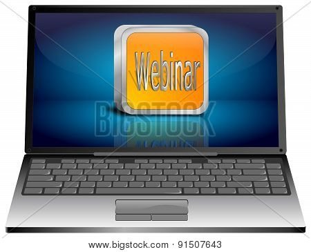 Laptop with webinar button