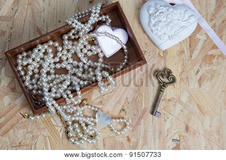Composition With Necklace And Decoration Vintage Design